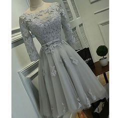 Half Sleeve Silver Tulle with Lace Appliqued Short Prom Dresses ,Hot 68