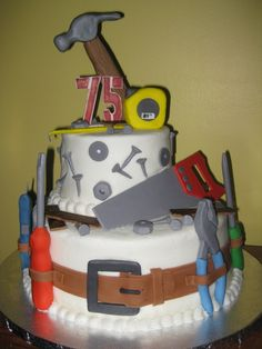 Birthday Tool Cake I made this tool-themed cake for my grandpa's birthday. Thanks to mariprincesa for her amazing cake, and. 75 Birthday Cake, 75th Birthday Parties, Tool Cake, Dad Cake, Fathers Day Cake, Grandpa Birthday, Novelty Cakes, Occasion Cakes, Cakes For Boys