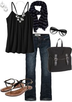 """summer black"" by stantau on Polyvore everything but the sandles"