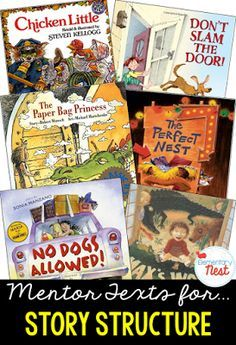 Primary mentor text suggested book list for Story Structure- teaching the beginning, middle, and end of a story- Teaching Plot, Teaching Reading, Reading Activities, Guided Reading, Learning, Reading Resources, 2nd Grade Ela, First Grade Reading, Second Grade