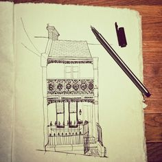 Chantal Vincent Art Little Houses Sketchbook Pen And Wash, 30 Day Challenge, Mark Making, Little Houses, Art Sketchbook, Art Journals, Sketchbooks, Paper Cutting, Sketching