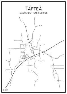 Täfteå. Västerbotten. Sverige. Map. City print. Print. Affisch. Tavla. Tryck. Stadskarta. City Maps, Cities, Skyline, Prints, Ideas, Velvet, Thoughts, City