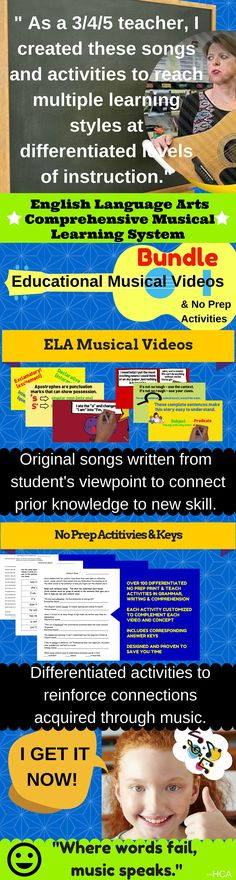 "$ ""This is perfect for teachers and parents!"" These catchy and fun lyrics and melodies make learning effortless for achieving life-long educational goals. I wrote these songs and created these activities to teach my students for life; therefore, I use an innovative method for reaching multiple learning styles. My music has reached and impacted every student that has been in my classroom. The inter-connectivity of my plan allows you to create an engaging and fun learning environment."