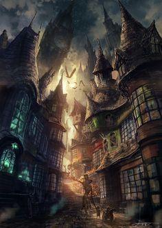 Fantasy city by Yo Shimizu.