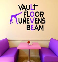 "Design with Vinyl RAD V 389 1 Vault Floor Uneven Beam Gymnastics Sign Teen Girl Bedroom Decoration Picture Art Home Decor Decal, 16"" x 24"""