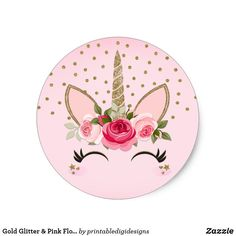 Gold Glitter & Pink Floral Unicorn Birthday Party Classic Round Sticker
