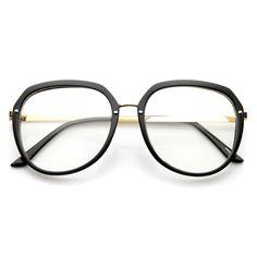 Womens Metal Plastic Frame Clear Lens Eyewear Round Glasses