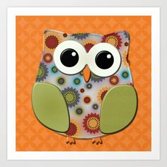 Colorful Floral Owl on Orange Art Print by tsuttles - $18.00 http://society6.com/tsuttles