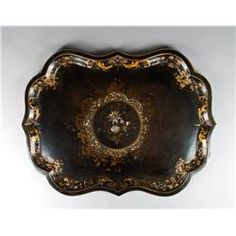 19th Century Tole Painted Tray with Abalone Inlay
