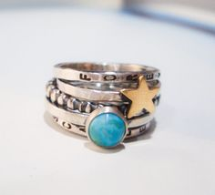 Golden Star Personalized Stacking Ring in Sterling Silver and Turquoise 80€
