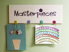 This project idea comes from Dolly VanDerWeerd Simply Said Consultant from IA.  She tool the Simply Said Design - a - Board, hot glued buttons and paperclips to hold childrens art and added the word Masterpieces in a Fun font.  What a great idea!  Thanks for sharing Dolly