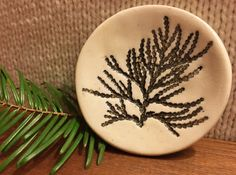 Handmade Ceramic Ring Dish with Pine Frond Printed by StudioMimmi