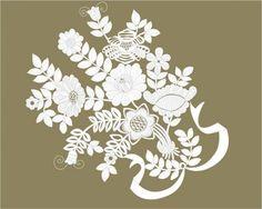 Paper cut style pattern vector 450x360 切り絵風の花束のイラスト素材(Ai)   Free Style