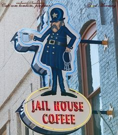 Jail House Coffee Shop neon sign in Butte, Montana; this is housed in what was once the town jail. I Love Coffee, Coffee Art, My Coffee, House Coffee, Coffee Truck, Coffee Barista, Coffee Drawing, Coffee Poster, Coffee Menu
