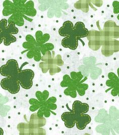 Holiday Inspirations Fabric-Gingham Clover On White