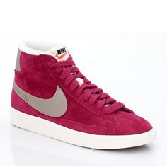 Nike Blazer Mid premium Vintage suede Chaussure pour Femme Framboise argent Blanc,Order popular and super sneakers here would bring you big surprise.