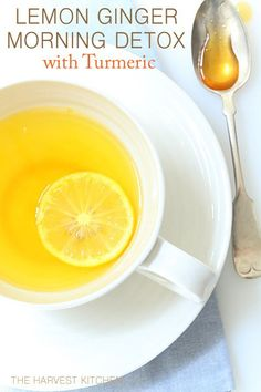 from The Harvest Kitchen This Lemon Ginger Morning Detox drink is a perfect healthy way to start your day!