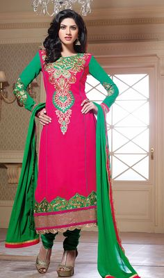 Green and Pink Georgette Churidar Dress Price: Usa Dollar $111, British UK Pound £65, Euro82, Canada CA$121 , Indian Rs5994.