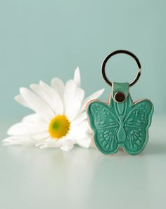 Butterfly. Womens Keychain Gift. Leather Keychain. by secondstudio