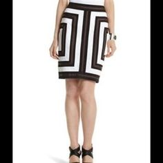 "White House Black Market Colorblock Pencil Skirt Made out of 98% cotton and 2% spandex. This skirt is machine washable. Hidden zipper in the back. Also  6 1/2"" split in the back. Length of skirt is approx 21 1/2"" .  Colors black , brown and white. This skirt is lined. Sits on natural waist White House Black Market Skirts"