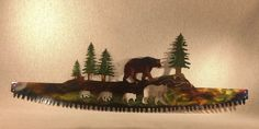 Excited to share this item from my #etsy shop: Bear Family in Crosscut Saw Blade Indoor or Outdoor Wildlife Metal Wall Art