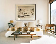 Aerin lauder's Aspen bedroom #skihouse #fur #neutral