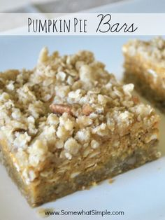 Pumpkin Pie Bars- these are AMAZING!