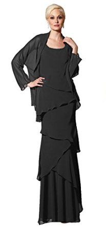 Alyce Paris Jean de Lys 29292 Mother of the Bride Dress with Jacket, Black, 24 - Square Neck Sleeveless Bodice Natural Waist; High Back Tiered Long Skirt; Long Sleeve Jacket