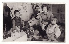 1940s-Soviet-Russian-Little-Girls-Boys-with-MANY-different-TOYS-DOLL-Real-Photo