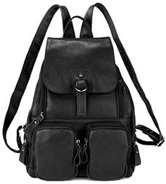 Coolcy Casual Women Real Genuine Leather Backpack New Vintage Style Travel Bag Black * Visit the image link more details.