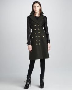 Leather-Panel Military Coat & Jersey/Leather Corset Leggings by Burberry London at Neiman Marcus.