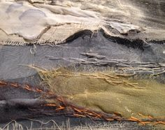 Section of Whitley Dome winter light - in progress . Laura Edgar #textile art #collage #embroidery