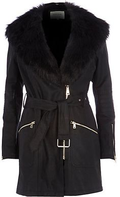 River Island Womens Black faux fur collar leather-look jacket on shopstyle.com