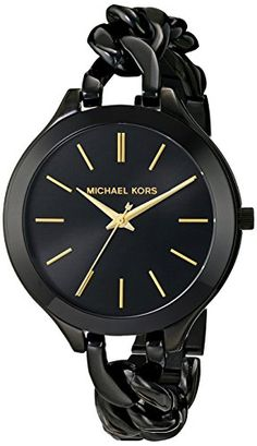 Michael Kors Slim Runway Black With Gold-Tone Stick Markers Women's Watch MK3317 - http://dressfitme.com/michael-kors-slim-runway-black-with-gold-tone-stick-markers-womens-watch-mk3317/