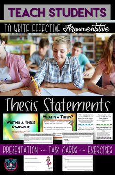 Teaching students how to write effective thesis statements? This high school writing lesson can help. It contains a presentation, task cards, and three exercises to allow students opportunities to practice their argumentative writing skills.
