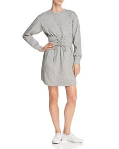 AQUA Corset Detail Sweatshirt Dress - 100% Exclusive  | Bloomingdale's