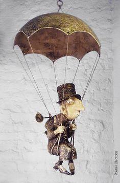 Entomologist-80 cm, papier-mache, wood, bus. painting-Roman Shustrov Paper Clay, Paper Art, Paper Dolls, Art Dolls, Tableaux Vivants, Marionette, Doll Maker, Cat Art, Altered Art