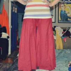 Turn a long, flowing skirt into a wicked cool pair of harem-like hippie pants!