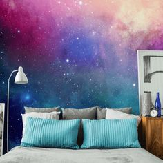 Water Color Galaxy Wall Mural-Space-Eazywallz section of information related to. Bedroom Murals, Bedroom Themes, Bedroom Colors, Home Decor Bedroom, Bedroom Designs, Girls Bedroom Mural, Bedroom Sets, Modern Bedroom, Bedroom Furniture