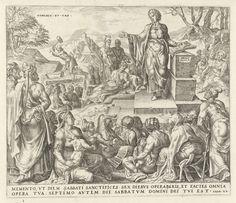 Harmen Jansz Muller   Man sprokkelt hout op de sabbat, Harmen Jansz Muller, Philips Galle, 1570 - 1612   Terwijl de Israëlieten op de sabbat luisteren naar een prediker, sprokkelt een man op de achtergrond hout. Omdat hij werkte op de sabbat werd hij ter dood gebracht. Prent maakt deel uit van een serie over de tien geboden en geeft een overtreding van het derde gebod weer: Gedenk de sabbatdag. Onderaan in de marge een verwijzing naar de Bijbeltekst in het Latijn.