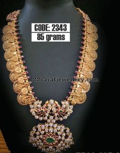 22 carat gold two tone Lakshmi kasu mala with round rubies and two step pendant Indian Wedding Jewelry, Bridal Jewelry, Silver Jewelry, Indian Jewelry, Diamond Jewelry, Indian Bridal, Clay Jewelry, Silver Earrings, Jewelry Sets