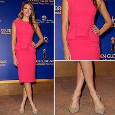 Jessica Alba inspires us to wear pink peplum too!