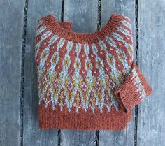 Beautiful colorwork yoke sweater in burnt orange. Icelandic Sweaters, Fair Isle Pattern, How To Purl Knit, Fair Isle Knitting, Knitted Shawls, Pulls, Knitting Projects, Sewing Crafts, Knit Crochet
