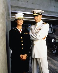 Catherine Bell and David James Elliott - Sitcoms Online Photo . Jag Image, Us Navy Uniforms, Military Uniforms, David James Elliott, Catherine Bell, The Good Witch, Favorite Tv Shows, Captain Hat, Celebs
