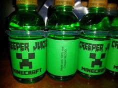 Minecraft birthday Creeper bottle labels