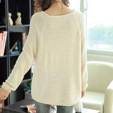 Áo len dệt kim nữ dáng rộng, kiểu dáng trẻ trung, màu sắc nữ tính