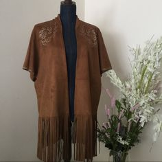 NWT ZARA SUEDE FRINGE JACKET SIZE M GENUINE LEATHER. NWT Zara Jackets & Coats Capes