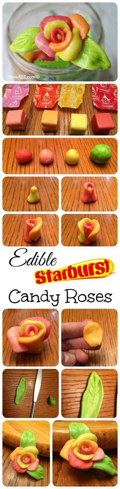 Edible Starburts Candy Roses, this is fricken awesome Candy Crafts, Food Crafts, Candy Diys, Cupcakes, Cupcake Cakes, Fruit Cakes, Owl Cakes, Ladybug Cakes, Cake Decorating Tips