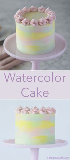 The best vanilla cake surrounded in creamy Italian buttercream with a pastel watercolor effect. Click over for full recipe and video.