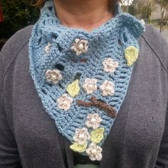 Blue & Cream Women's Flowered Scarf Handmade by LadyLynelle